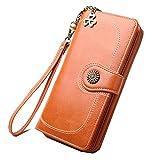Women's RFID Blocking Wax Leather Clutch Wallet with Wrist Strap Large Capacity Card Holder Organizer Ladies Purse Wallets for women (Orange)