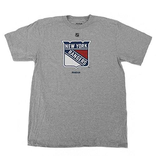 New York Rangers Reebok Grey Primary Logo T-Shirt (2XL) (Primary T-shirt Reebok Logo)