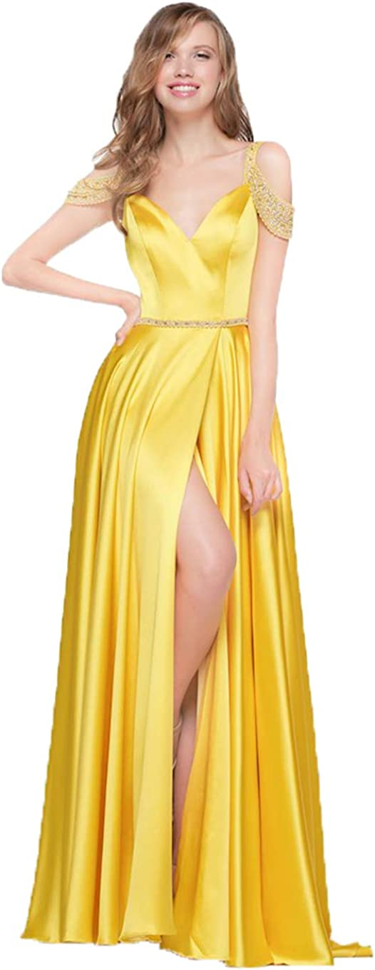 Awishwill Women's Off The Shoulder Beading Prom Dress Long Slit Party Evening Gown with Pockets Red 8DE6l