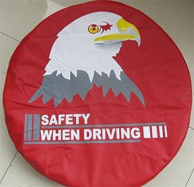 "Bevis David Spare Wheel Tire Cover 30""-31"" Heavy Denim Vinyl Leather Eagle Head Red"