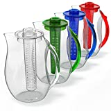 Vremi Fruit Infuser Water Pitcher - 2.5 liter Plastic Infusion Pitcher with Lid for Loose Leaf Tea - Large BPA Free Infuser Pitcher with Spout - 84 oz Sangria Pitcher Vodka Infuser Insert - Blue