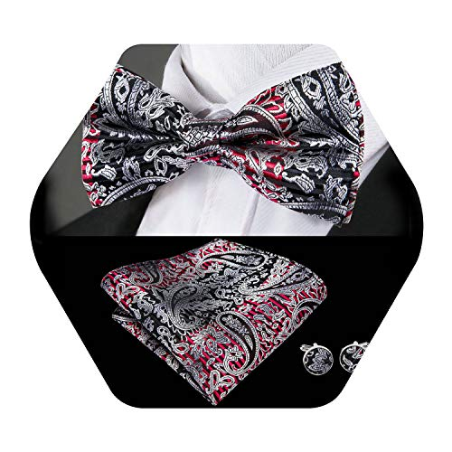 - Barry.Wang Mens Black Red Pre-tied Bow Tie Set Paisley Silk Bowtie Pocket Square Cufflinks