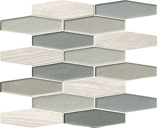 M S International Europa Elongated Hexagon 12 In. X 8 mm Glass Stone Mesh-Mounted Mosaic Tile, (10 sq. ft., 10 pieces per case)