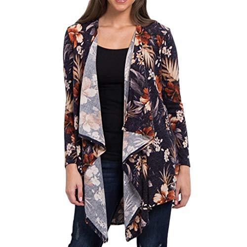 Ladies Windshirt - 2018 New!!Kimono Tops Blouse for Women Ladies Long Sleeve Flower Print T-Shirt Loose Cardigan (XL, Grey)