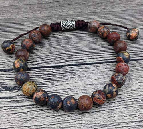 Gabcus YA2465 Tiger Eye Amazonite Stone Beads Bracelet Tibetan Charms Men Healing Bracelet Cord Knot Adjustable 7-8mm 6.5inch Long - (Metal Color: Leopard Skin Jasper) ()