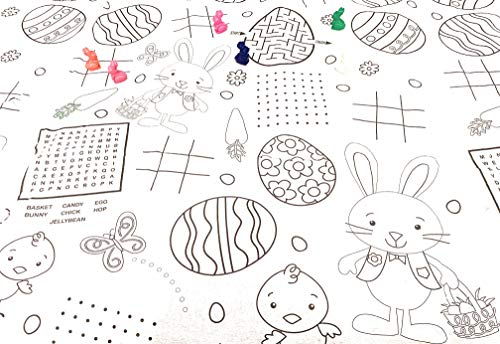 Easter Coloring Color in Tablecloth Bunny Shaped Crayons - Kids Easter Paper Activity Tablecover Easter Table Cloth (Christmas Tablecloths Kohls)