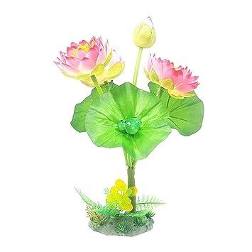 AOLVO Fake/Flor de Loto Artificial, pequeñas Plantas de Acuario, decoración de Acuario