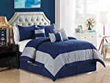 7-Pc Joey Windowpane Square Rectangle Bordered Boxed Stripe Comforter Set Queen Gray Navy Blue
