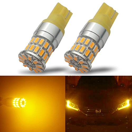 iBrightstar 9-30V Extremely Bright Low Power 168 175 194 2825 W5W T10 Wedge LED Bulbs for Side Marker Light,Amber Yellow (7 Tinted Dome Housing)