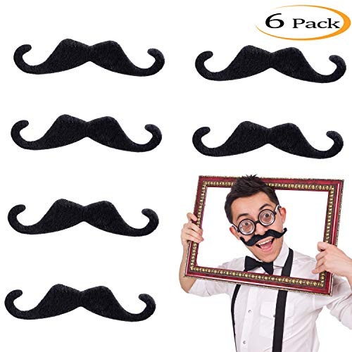 Whaline 5 Inch Large Self Adhesive Fake Mustaches Novelty Black Mustache for Masquerade Costume Party (6 Pieces)]()