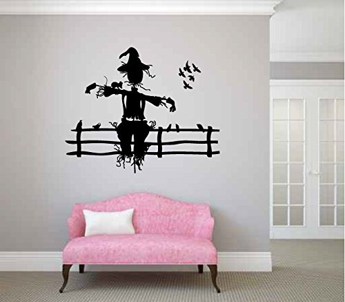 Scarecrow Sitting on a Fence Vinyl Wall Decal Sticker (Halloween Scarecrow Quotes)