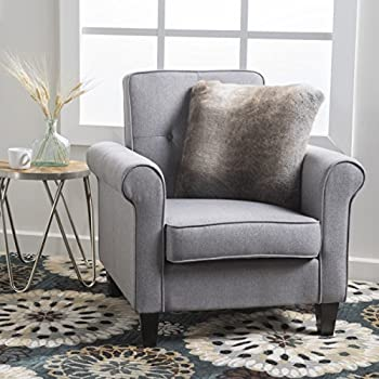 Mills Tufted Grey Fabric Club Chair
