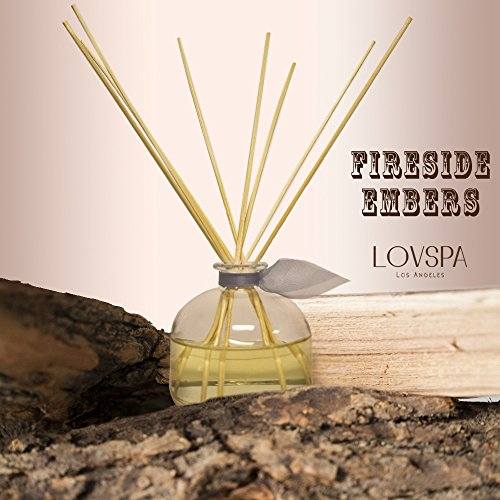 LOVSPA Romantic Fireside Embers Reed Sticks Diffuser Set Large 4.5 Ounce of Oil! Wood Smoke, Spiced Hickory, Saffron Suede & Amber Cognac | Smoky, Masculine Firewood Scent | Best Gift Idea! by LOVSPA (Image #1)
