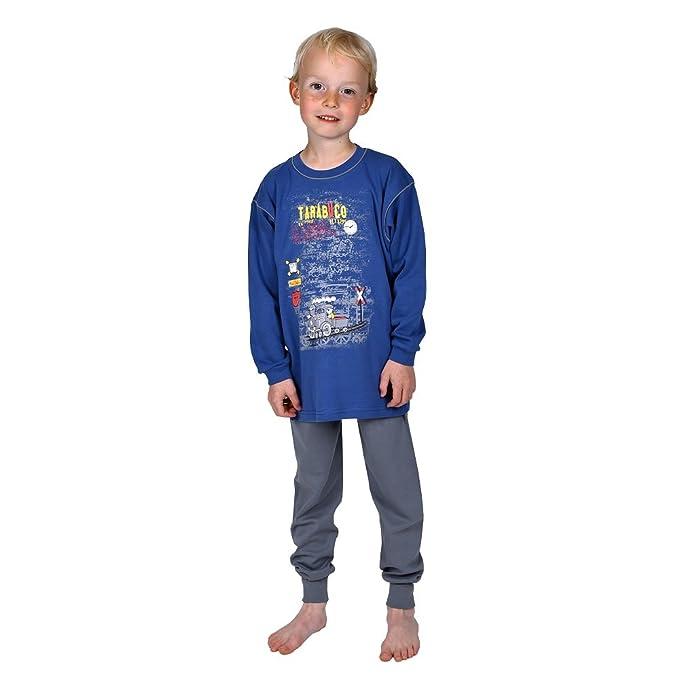 Mauz Pijama para niños de Dos Piezas con Motivo de un Locomotora de Color Azul Tamaño