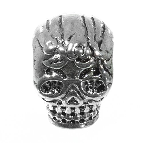 Craft County Gothic Bead Single Packs - for Earrings, Necklaces, Bracelets, DIY Crafts, Gifts and Jewelry (Silver Rose Bud Skull)