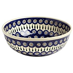 Polish Pottery Blue Peacock Feathers Jumbo Large Serving Bowl, Handmade Ceramic, 11″L x 11″W x 4″H (64 Ounce)