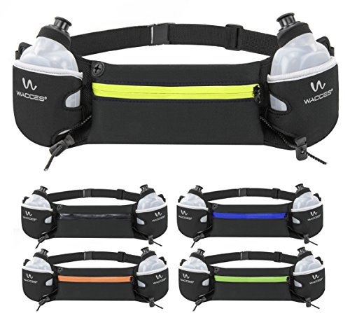 Wacces Hydration Running Belt with 2 BPA Free Water Bottles – Fits iPhone 6/7 Plus and Galaxy S8 Series