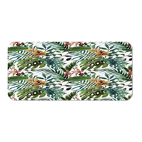 - Leaf Ordinary Mouse Pad,Vintage Retro 60s Seem Banana Palm Tree Leaves Flowers Hibiscus Decorative for Computers Laptop Office & Home,15.75''Wx23.62''Lx0.08''H