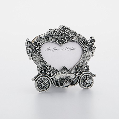 CraftbuddyUS Carriage Silver Vintage Wedding Place Card Holder Frame,3D Style Picture Frame