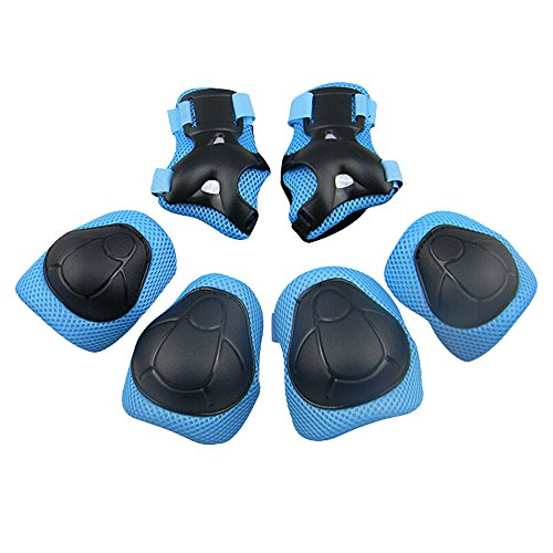[KuYou] Sports Protective Gear Safety Pad Safeguard (Knee Elbow Wrist) Support Pad Set Equipment for Kids Roller Bicycle BMX Bike Skateboard Protector Guards Pads,(Blue)