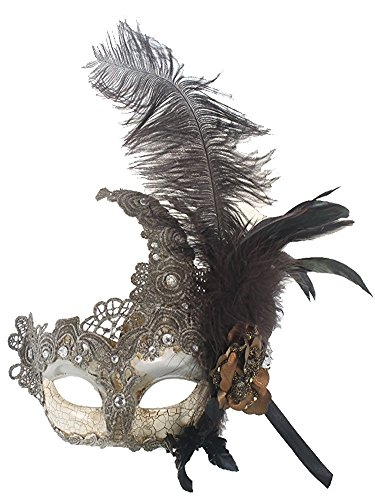Hagora, Women's Vintage Venetian Carnival Black Feathers And Soft Lace Mask,Silver and Off-White One Size fits -