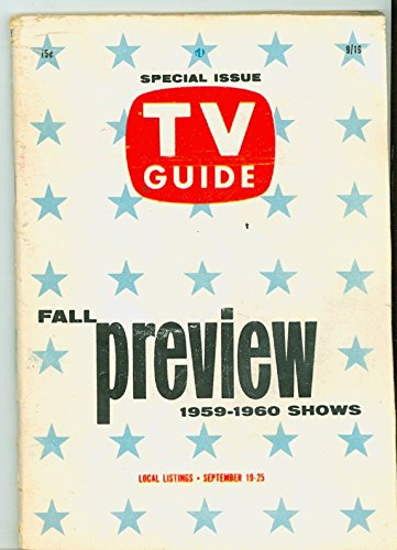 1959 TV Guide Sep 19 Fall Preview - Chicago Edition NO MAILING LABEL Very Good (3 out of 10) Well Used by Mickeys...