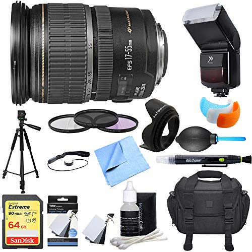 - Canon (1242B002) EF-S 17-55mm F/2.8 IS USM Wide Angle Zoom Lens Ultimate Accessory Bundle includes Lens, 64GB SD Memory Card, Tripod, 77mm Filter Kit, Lens Hood, Bag, Cleaning Kit, Blower & More