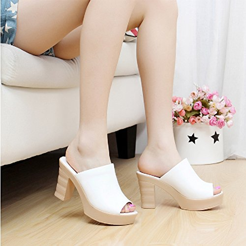 High Sandals Btrada Heel Mouth Casual Slide soled White Shoes Thick Fish Womens Platform qwB8wXF