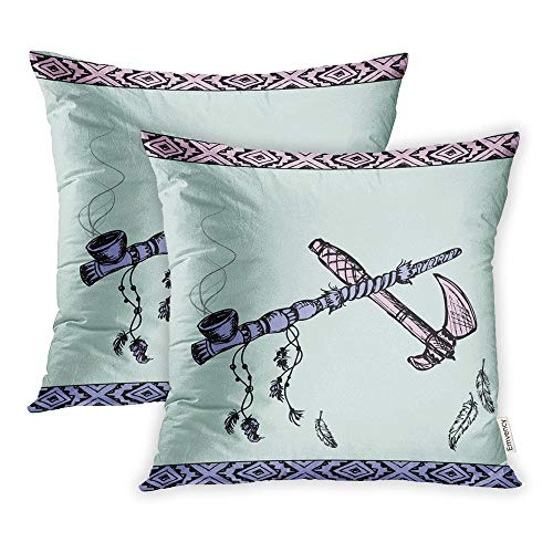 Emvency Set of 2 Throw Pillow Covers Print Polyester Zippered Colorful Indian of Traditional Native American Peace Pipe and Tomahawk Sacred Pillowcase 16x16 Square Decor for Home Bed Couch Sofa