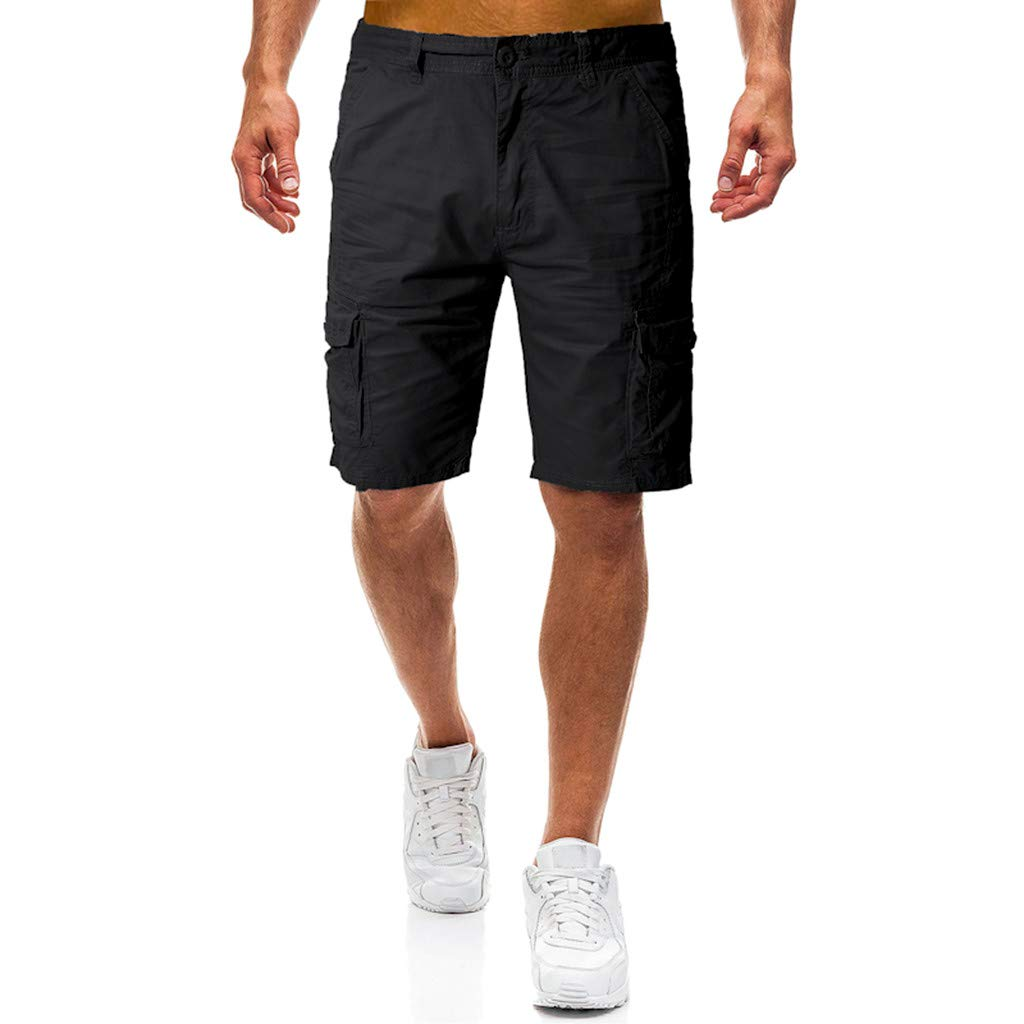 STORTO Mens Casual Shorts Summer Fashion Pockets Workout Slim Fit Working Cargo Shorts Black