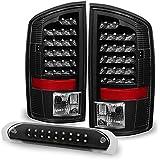 Black 02-06 Dodge Ram 1500 03-06 Ram 2500 3500 Truck LED Tail Lights + 3rd Brake Lights Cargo Lamp