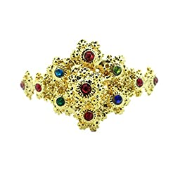 Siwalai Thai Traditional Gold Plated Multicolor Crystals Arm Cuff (Rad Khaen) 2.5-3 Inches