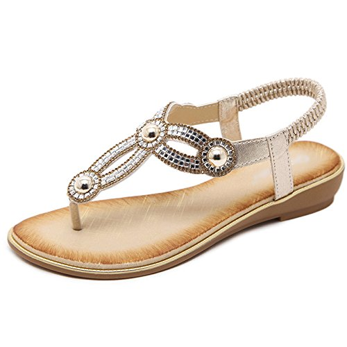 Flops Gold Bohème Femmes Plage Style Voyage Cheville Bride Toe Sandales Casual LDZY Chaussures Clip La Plates à Strap Strass Flip T RqdHTw