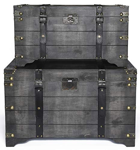 Vintiquewise QI003366.2 Distressed Black Large Wooden Storage Trunk Coffee Table Set of - Cocktail Trunk Table