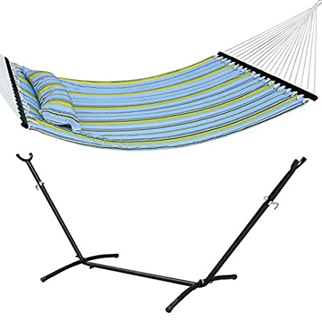 super deal portable double blue and green stripe quilted fabric hammock with pillow including 9 u0027 amazon     super deal portable double blue and green stripe      rh   amazon