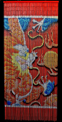 Bamboo Beaded Curtain Lucky Dragon Door Way Curtain Room Divider Doorway 90 Strands NT/BB-02