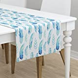Table Runner - Blue Aqua Feathers Nature Cool Watercolor Spa by Emmaallardsmith - Cotton Sateen Table Runner 16 x 90