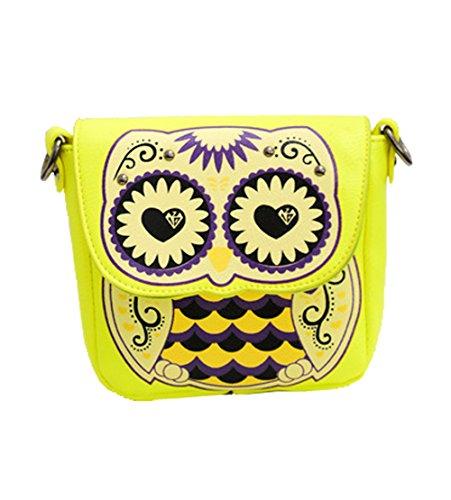 Clutch Satchel Handbag Bag FTSUCQ Owl Shoulder Purse Cute Crossbody Cartoon Yellow 1w4Iq