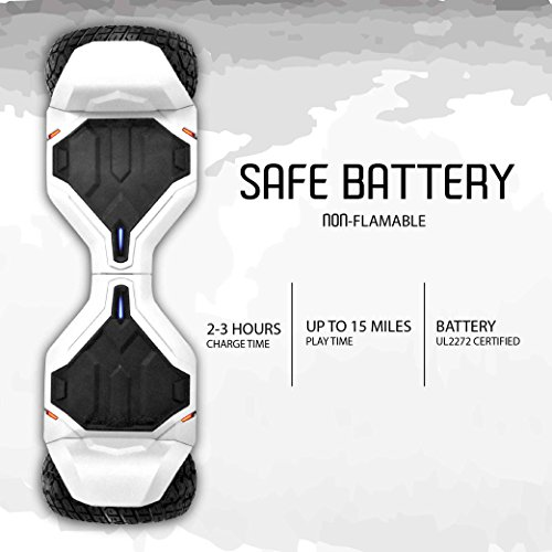 Review All-Terrain 8.5″ Wheels Off-Road Hoverboard Self Balancing Scooter with Bluetooth Speaker & Tron Lights – UL2272 Certified, G2, White