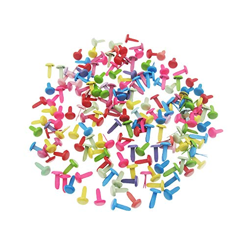 (Paper Fasteners Metal Brads for Arts Scrapbooking Crafts DIY, 500 Pcs (Round Assorted Color 8x12mm) )