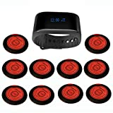 SINGCALL Table Call Server Pager System Caregiver Call Button,Pack of 1 Watch Receiver and 10 Pagers