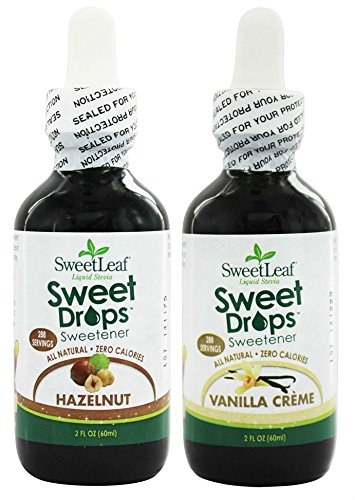 SweetLeaf Hazelnut Sweet Drops Liquid Stevia and Vanilla Creme Sweet Drops Liquid Stevia Bundle with Organic Stevia Leaf Extract, Hazelnut Extract, and Vanilla Extract, 2 oz. each
