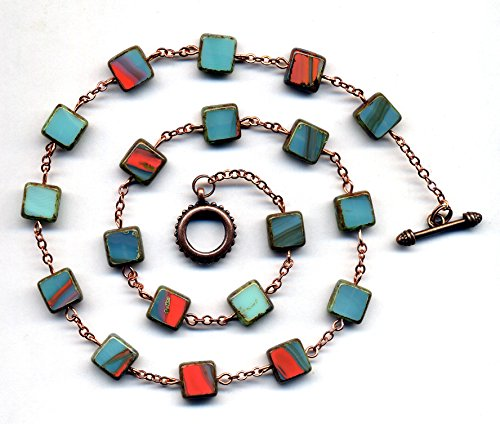 Copper Teal Necklace, Aqua Coral Necklace, Layering Trendy Necklace, Geometrical Square Czech Glass Necklace by AnnaArt72