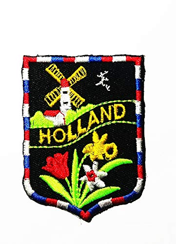 Windmills and Flowers Holland Logo Patch Embroidered Sew Iron On Patches Badge Bags Hat Jeans Shoes T-Shirt Applique ()
