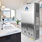 Ridgeyard 3.2GPM Water Heater 12L Digital Display LPG Propane Gas Tankless Stainless Instant Boiler Hot Water Heater Boiler Burner Indoor Home Bathroom Supplies …