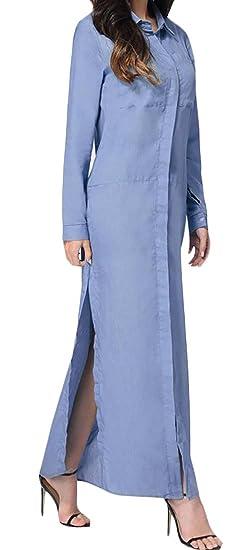 5d871775ec5 Wofupowga Womens Button Down Long Sleeve Solid Side Slit Long Shirt Dress  Blue XS