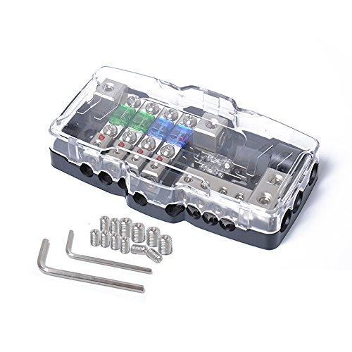 EDTara Fuse Holder with Fuse Multi-functional LED Mini ANL Fuse Box 4 Ways Fuse Block