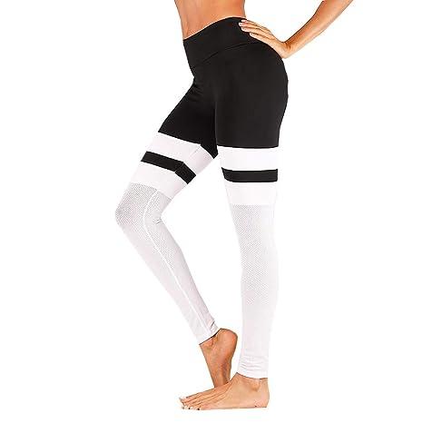 62ba6e1afff19 Pantalons Elastiques de Yoga Femmes Leggings Taille Haute Fitness Jogging  Collants Couture Trousers (Blanc,