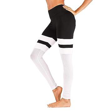 Pantalons Elastiques de Yoga Femmes Leggings Taille Haute Fitness Jogging  Collants Couture Trousers (Blanc 559357ea627