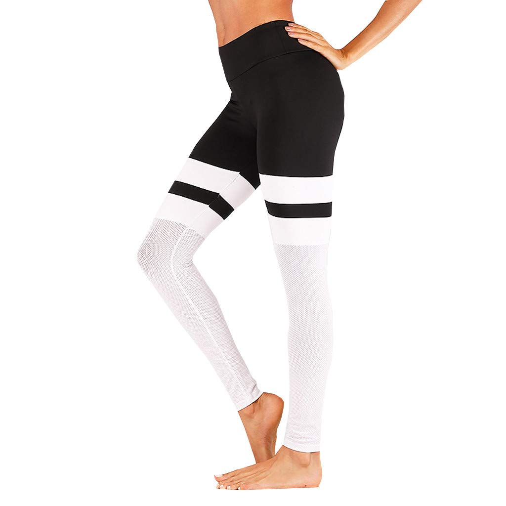 Pervobs Woman Skinny Fit Stretchy Yoga Sport Gym Elastic High Waist Gauze Ankle-Length Pants Trousers(S, White)